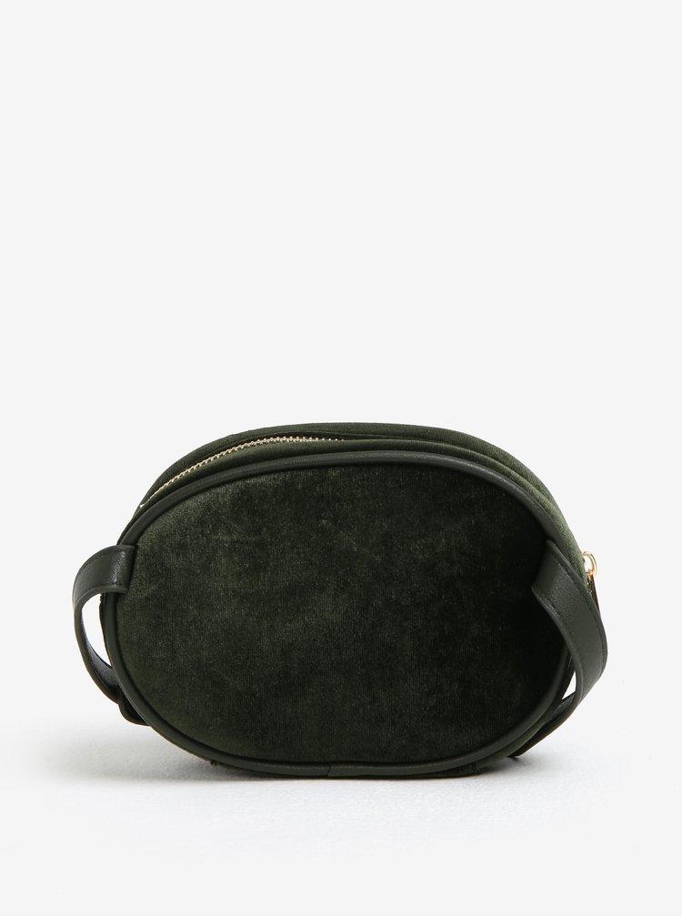 Tmavě zelená sametová ledvinka s ozdobnými detaily MISSGUIDED