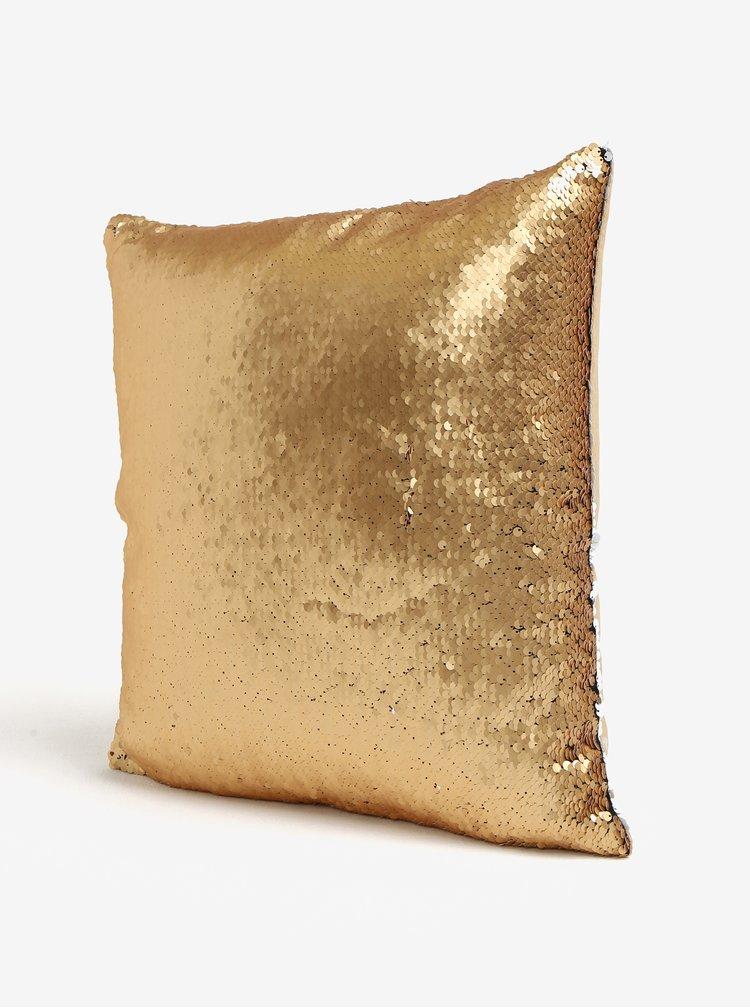 Polštář ve zlaté a bílé barvě s magickými flitry Dakls