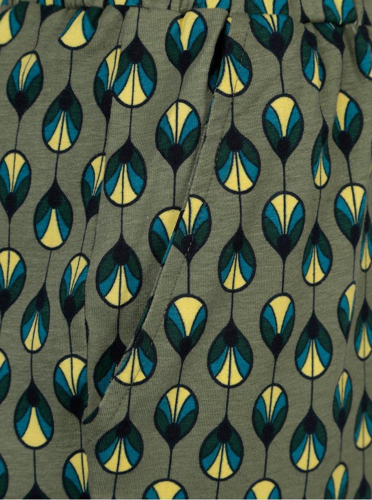 Pantaloni kaki cu print geometric Tranquillo Hebe