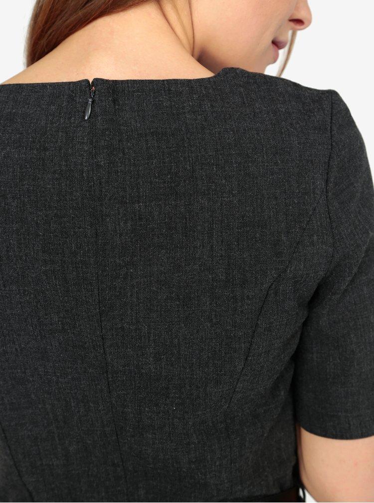 Tmavě šedé žíhané šaty VERO MODA Olivia