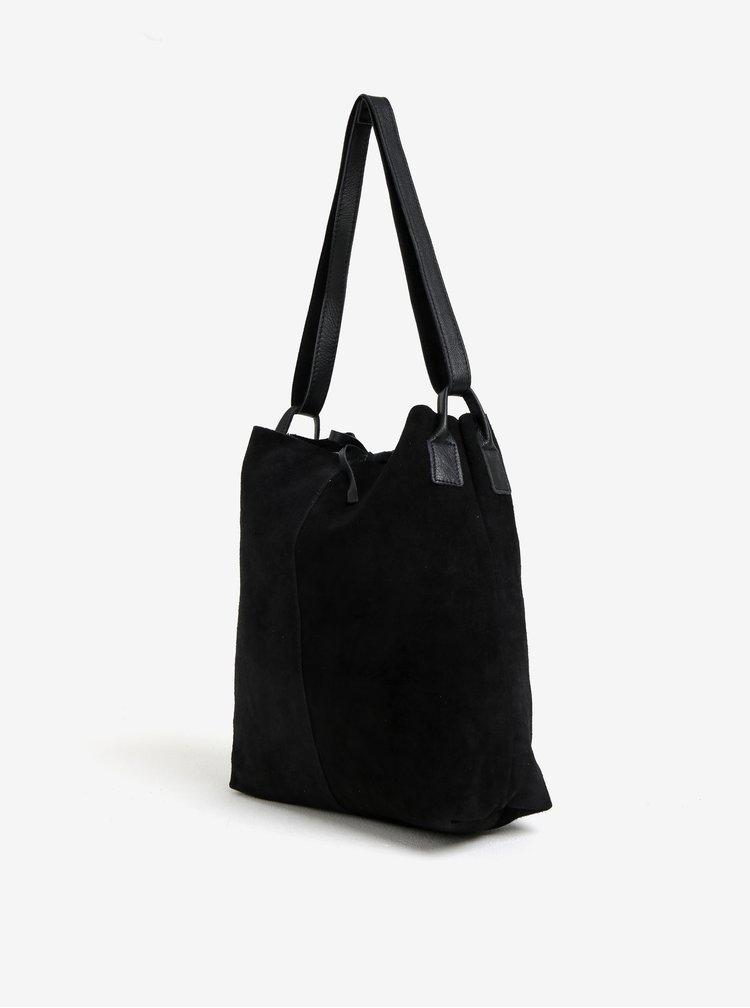 Geanta shopper neagra din piele intoarsa ZOOT