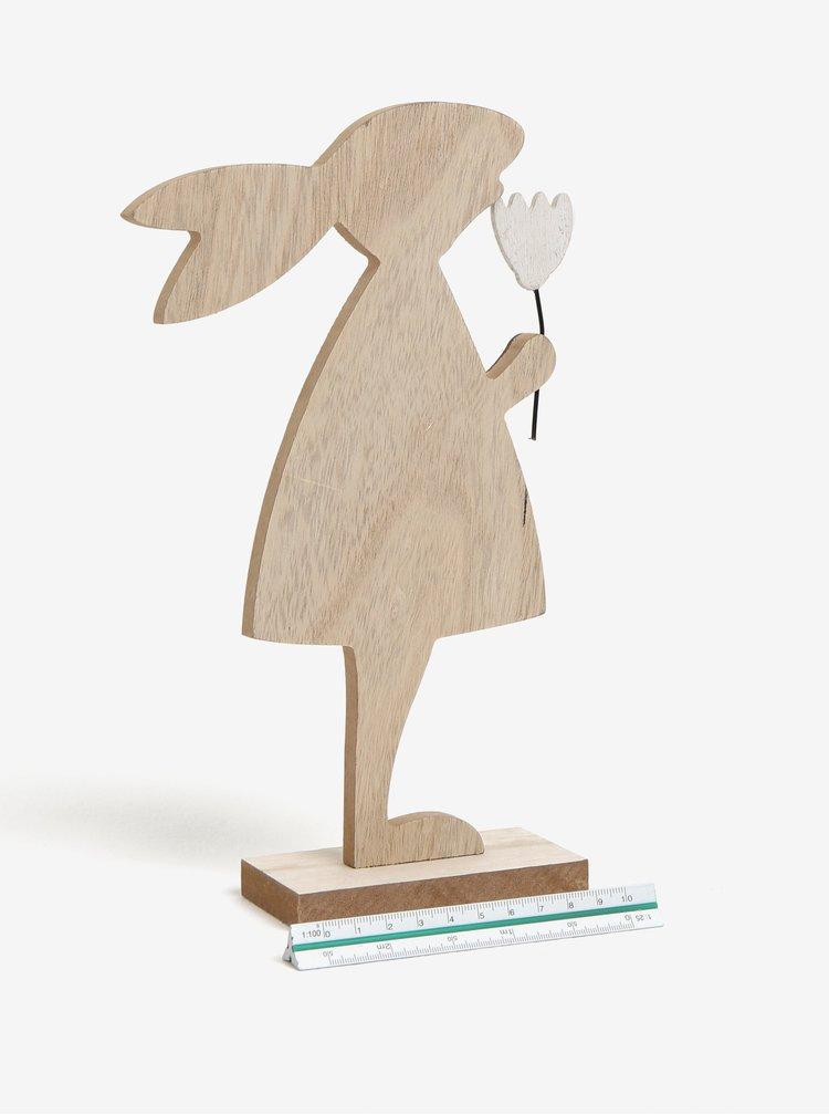 Dřevěná dekorace ve tvaru zaječice Dakls
