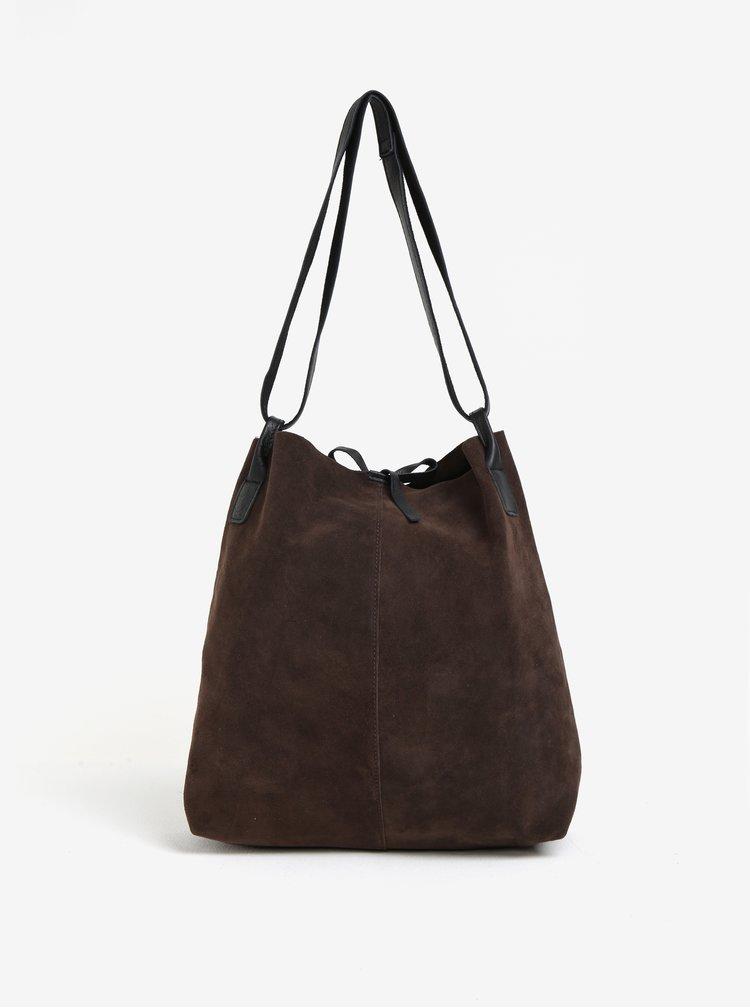 Tmavě hnědý semišový shopper ZOOT