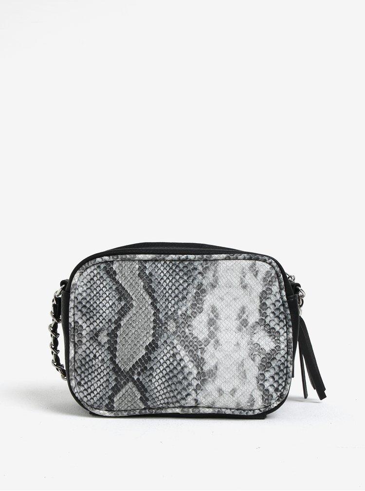 Šedo-černá malá crossbody kabelka s hadím vzorem VERO MODA Snakee