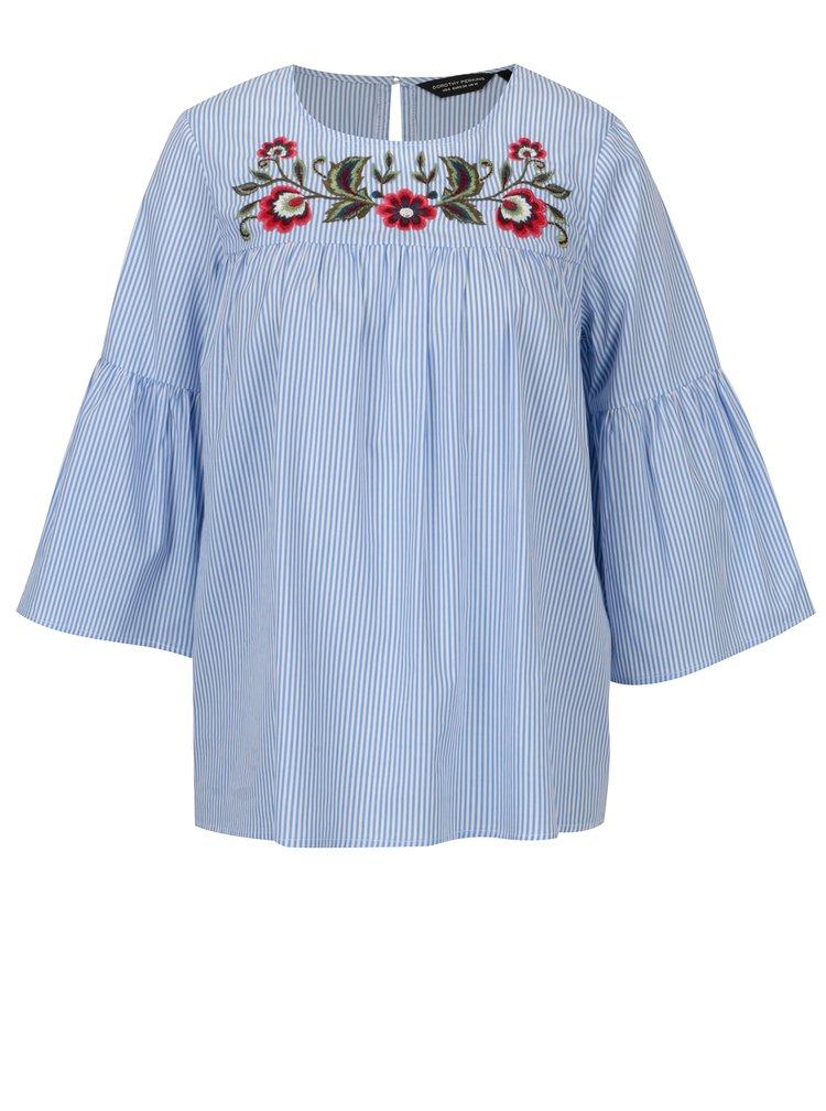 Modro-bílá pruhovaná halenka s výšivkami květů Dorothy Perkins