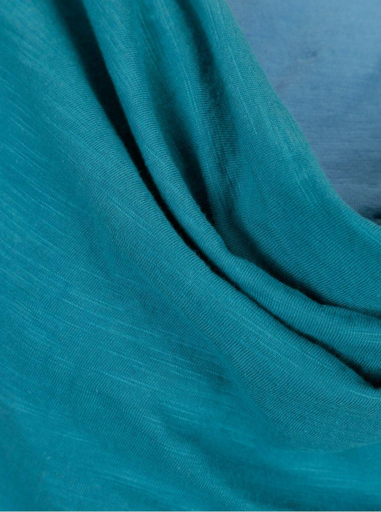 Rochie turcoaz cu decolteu drapat Tranquillo Aurea