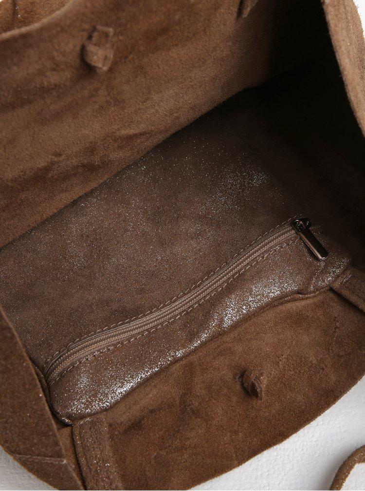 Světle hnědý třpytivý kožený shopper ZOOT Glitter