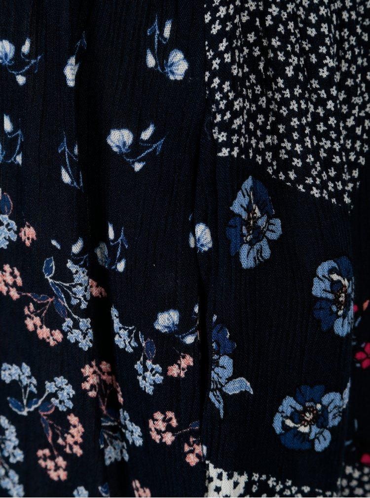 Tmavě modrý květovaný krátký overal s volány Dorothy Perkins