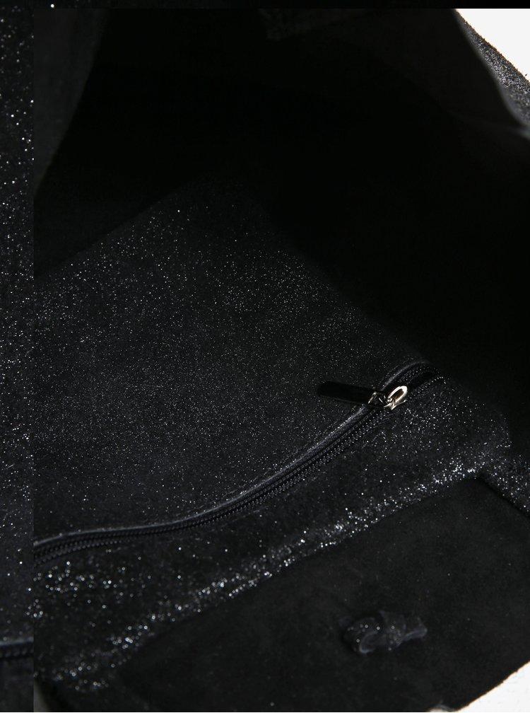 Černý semišový třpytivý shopper ZOOT Glitter