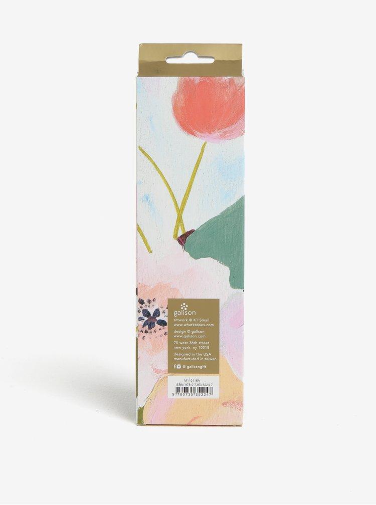 Sada osmi dřevěných květovaných tužek v růžové barvě Galison