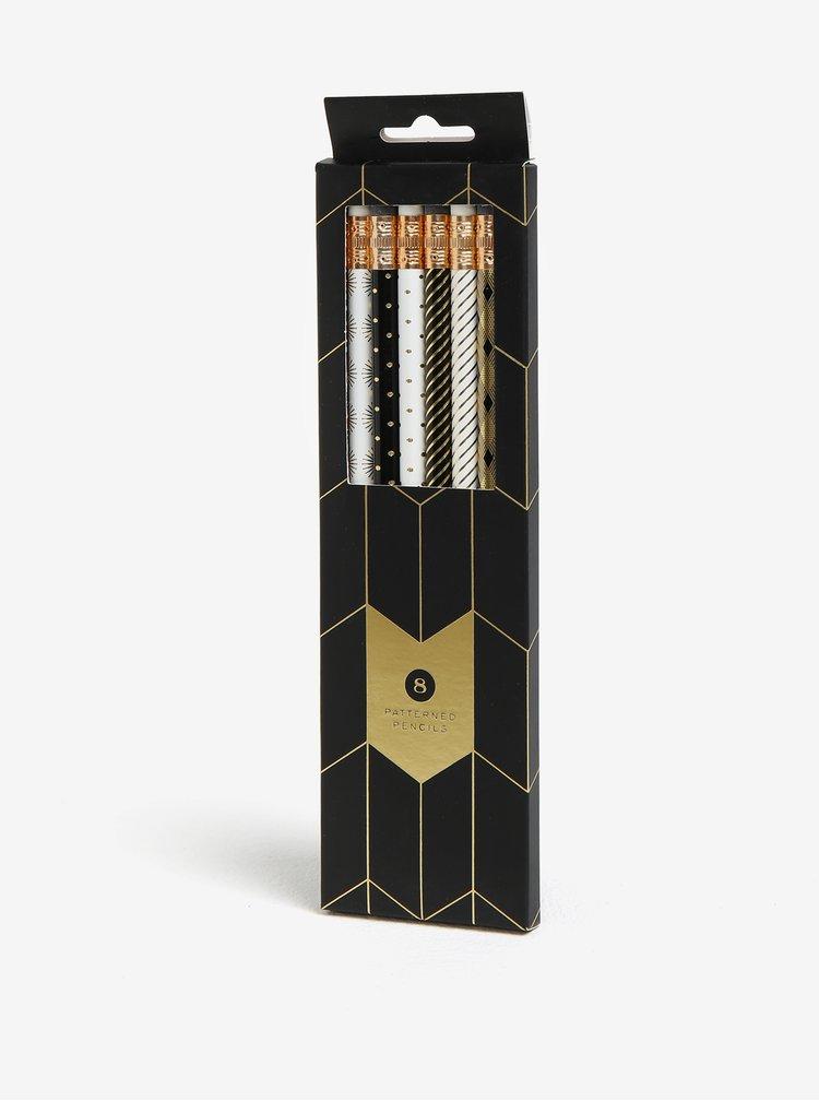 Sada osmi vzorovaných tužek v černé a bílé barvě Galison