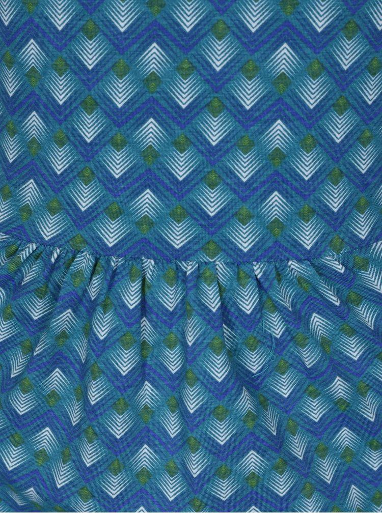 Tyrkysové vzorované šaty s véčkovým výstřihem Tranquillo Malva