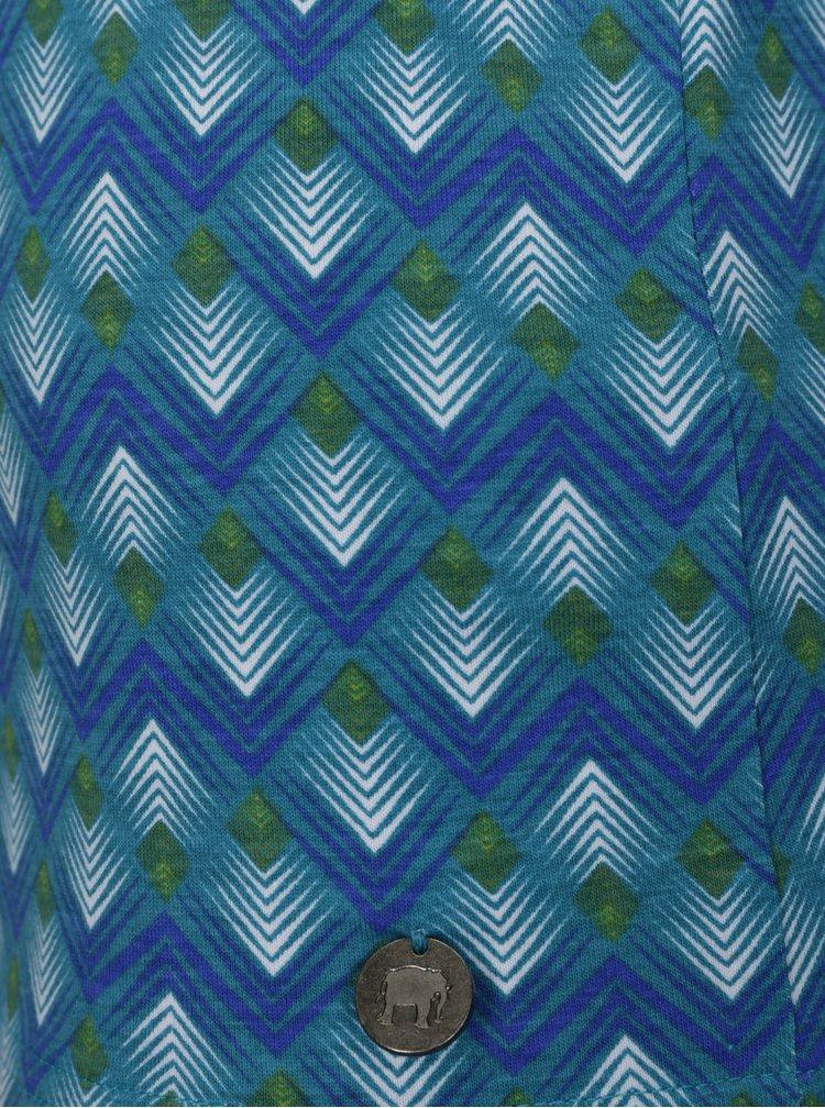 Tyrkysové vzorované tričko s překládaným výstřihem Tranquillo Ammi