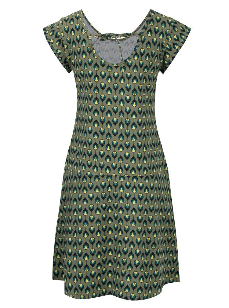 Khaki vzorované šaty s mašlí na zádech Tranquillo Asimina