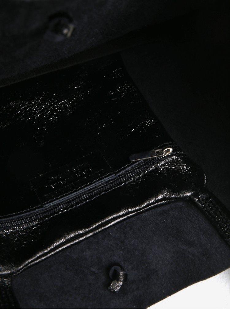 Černý lesklý kožený shopper ZOOT Laminato
