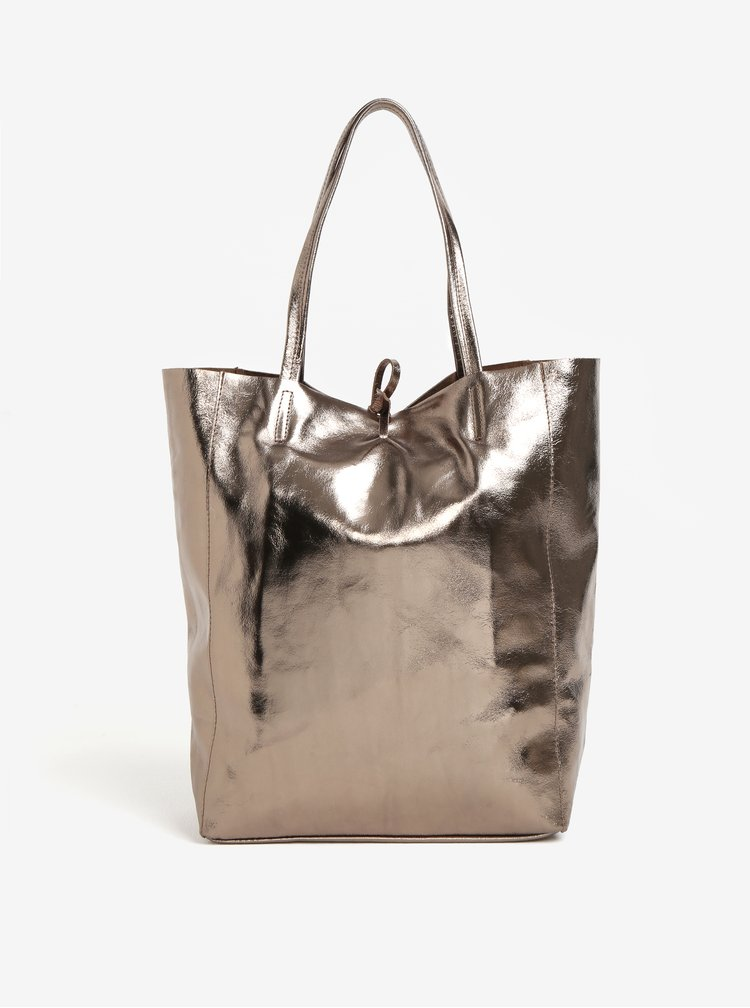 Hnědý metalický kožený shopper ZOOT Laminato