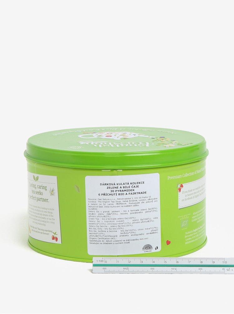Zelená dárková plechovka zeleného a bílého čaje English Tea Shop