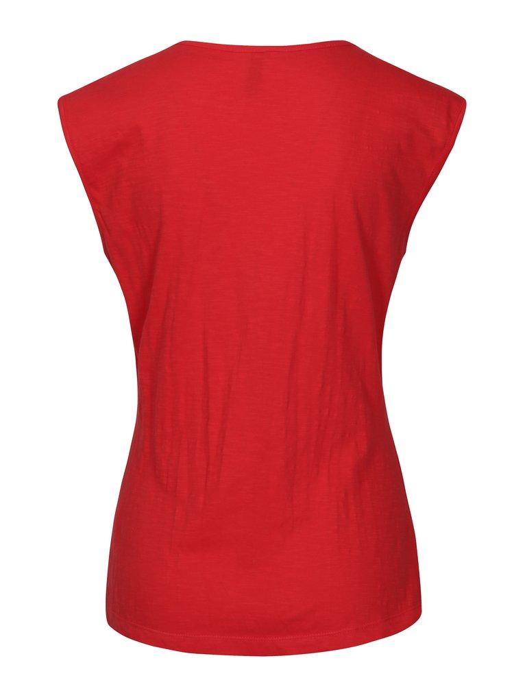 Červené tričko s překládaným výstřihem Tranquillo Musa