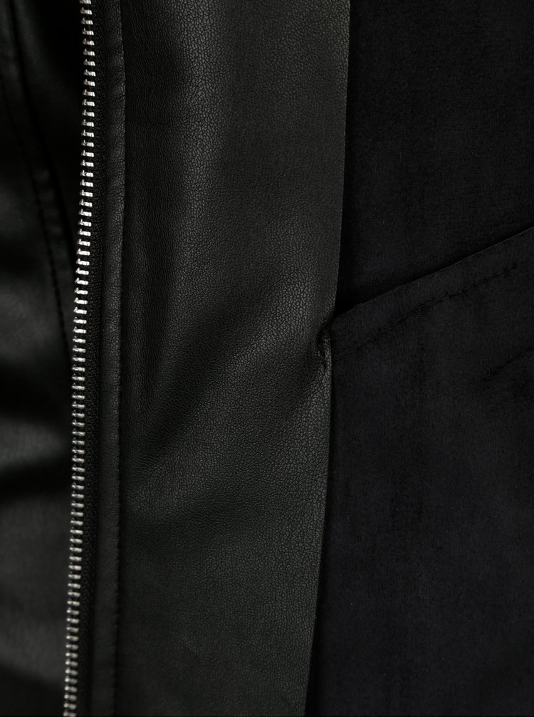 Černá koženková bunda s volány Dorothy Perkins