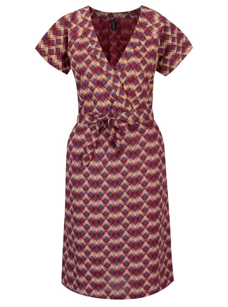 Vínové vzorované šaty s překládaným výstřihem Tranquillo Catalpa