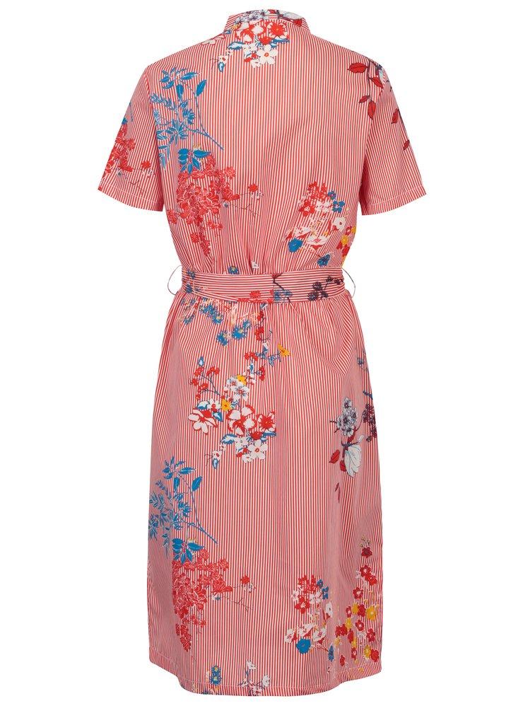 Krémovo-červené pruhované květované šaty Noisy May Conansa