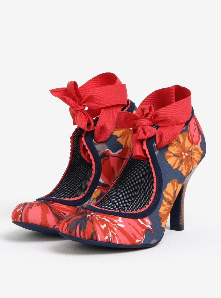 Pantofi decupati cu print si bareta textila pe glezna - Ruby Shoo Willow