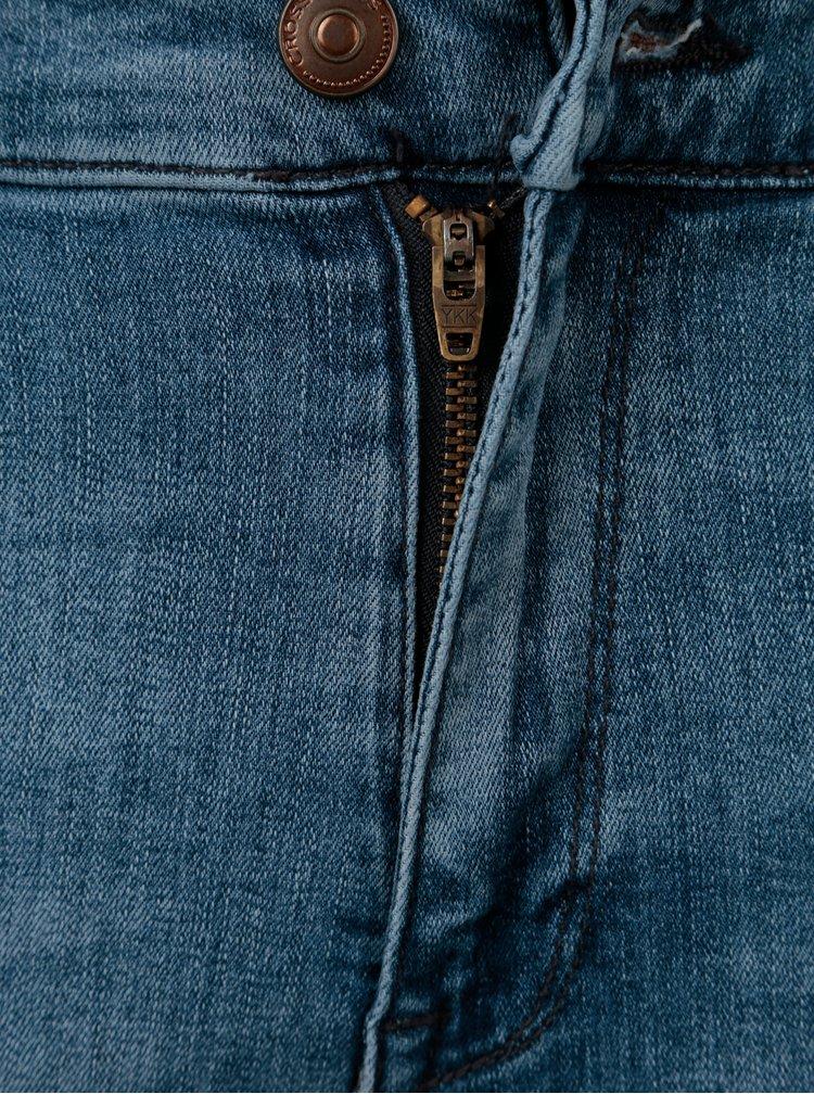 Modré dámské slim fit džínové kraťasy s vysokým pasem Cross Jeans