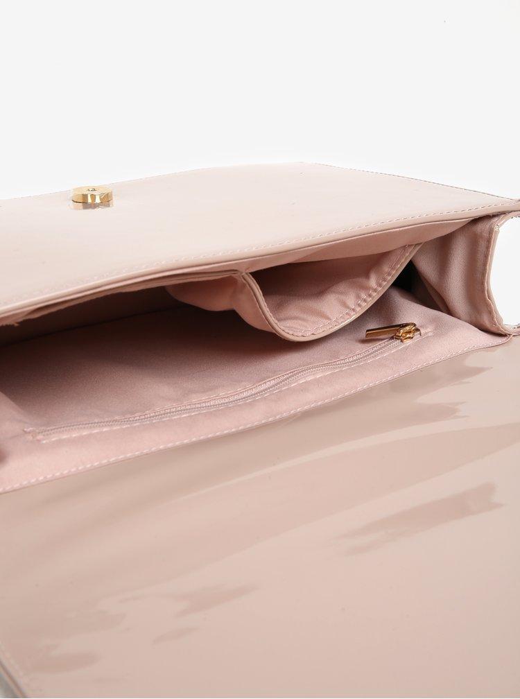Světle růžová lesklá crossbody kabelka Dorothy Perkins