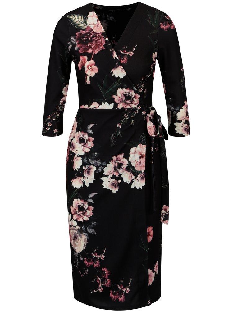 Černé vzorované zavinovací šaty Dorothy Perkins