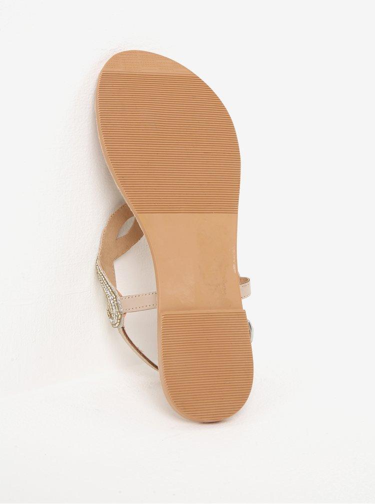 Páskové sandály ve zlaté barvě s koženými detaily Dorothy Perkins