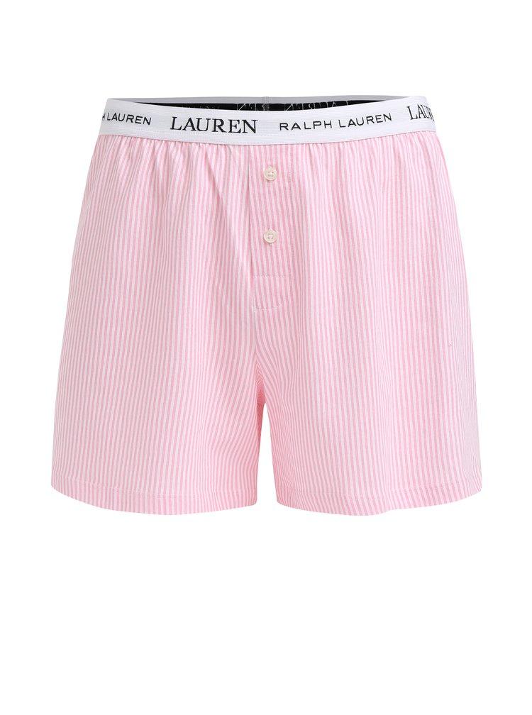 Růžové dámské pruhované trenýrky Lauren Ralph Lauren Soft Jersey