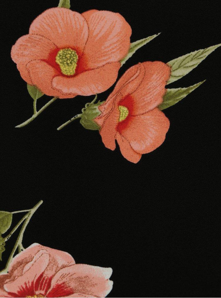 Černá květovaná halenka s volány Dorothy Perkins