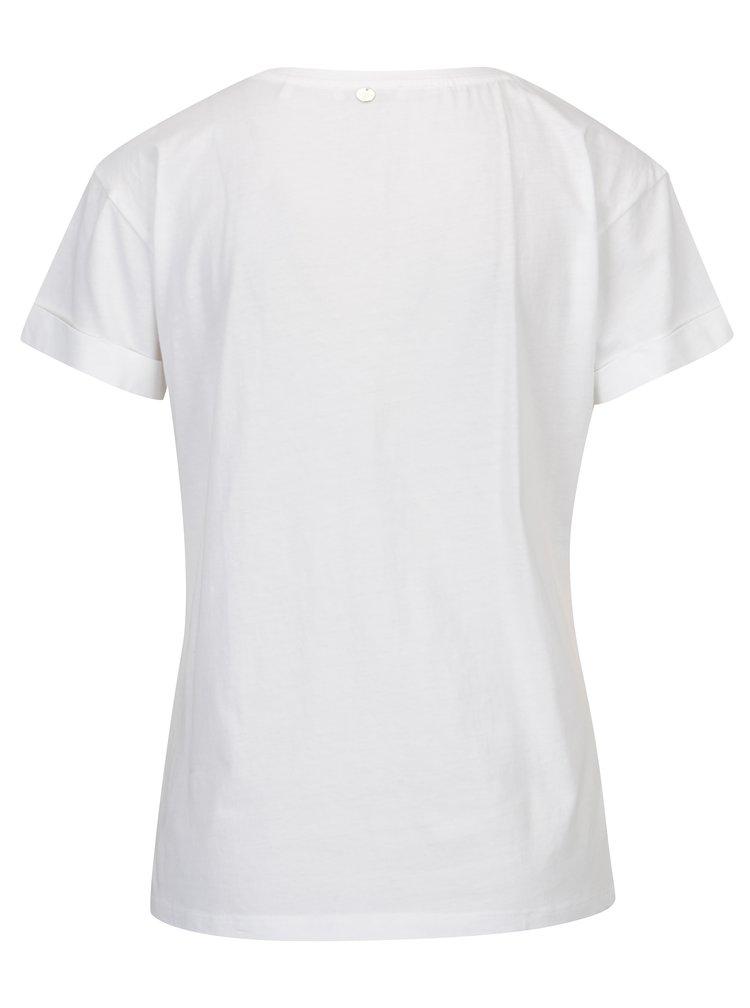 Bílé tričko s výšivkou plameňáka Rich & Royal