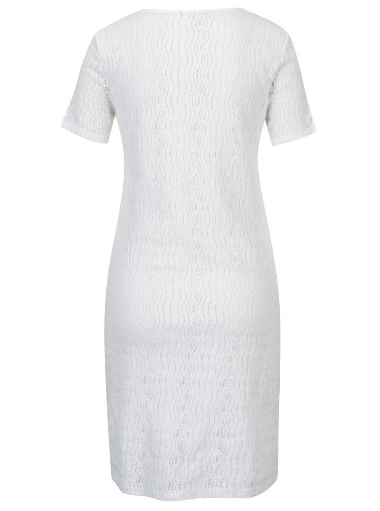 Bílé krajkové šaty s korálkovou aplikací YEST