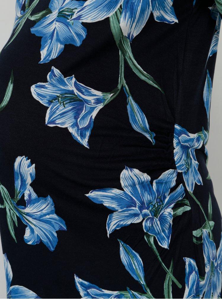 Tmavě modré květované těhotenské tričko Dorothy Perkins Maternity