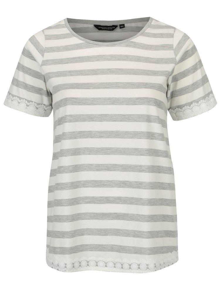 Krémovo-šedé pruhované tričko Dorothy Perkins Curve