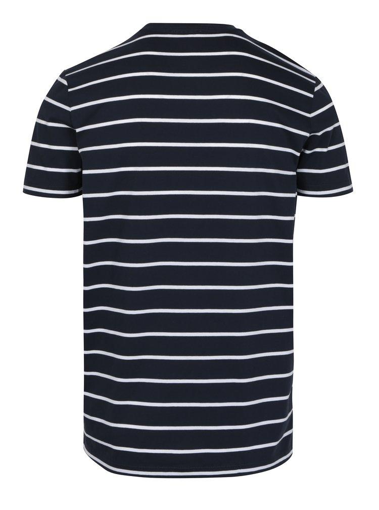 Tmavě modré pruhované basic tričko Selected Homme Max