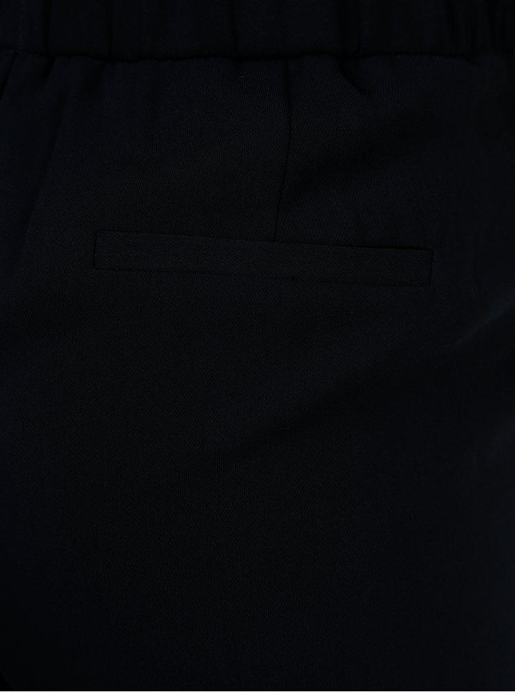 Pantaloni bleumarin cu talie inalta si cordon Dorothy Perkins Tall