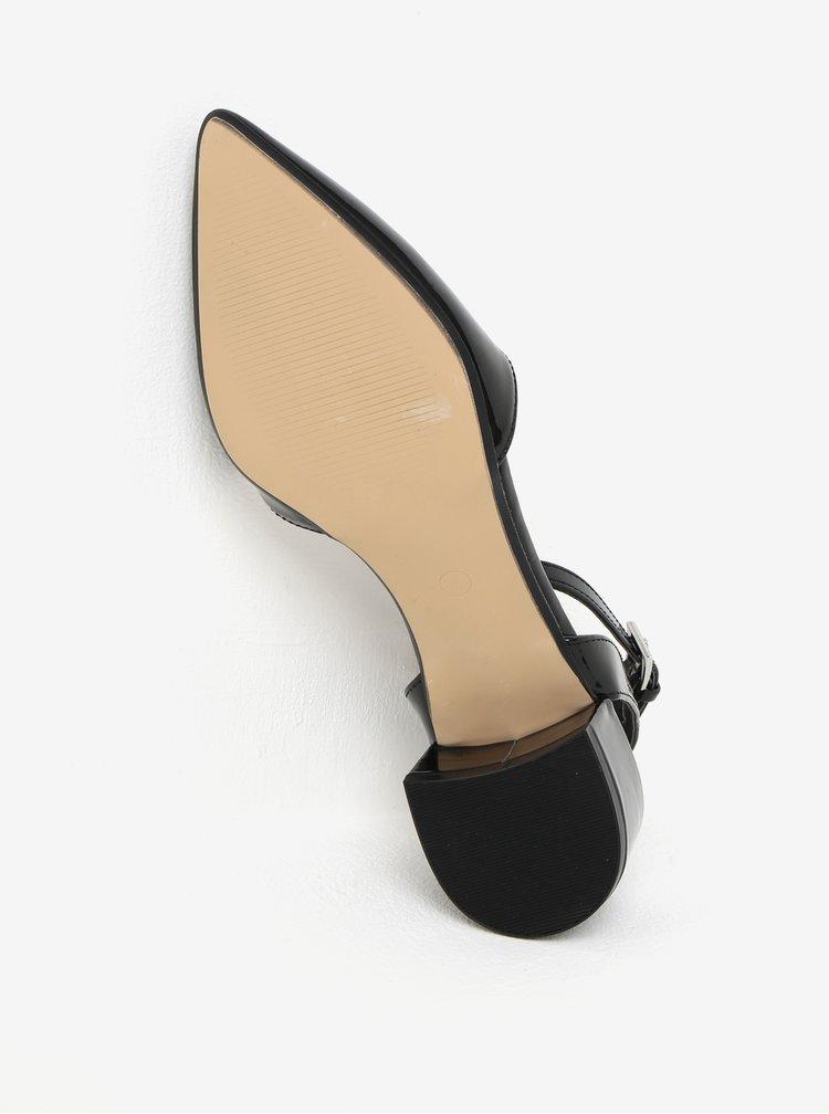 Černé lesklé sandálky na nízkém podpatku Dorothy Perkins