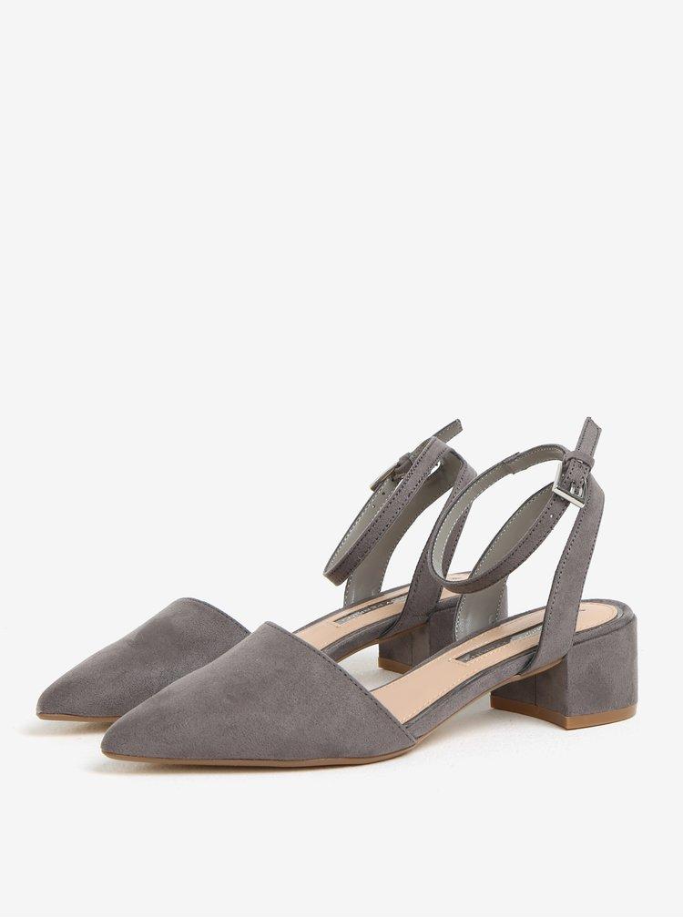 Šedé sandálky na nízkém podpatku v semišové úpravě Dorothy Perkins