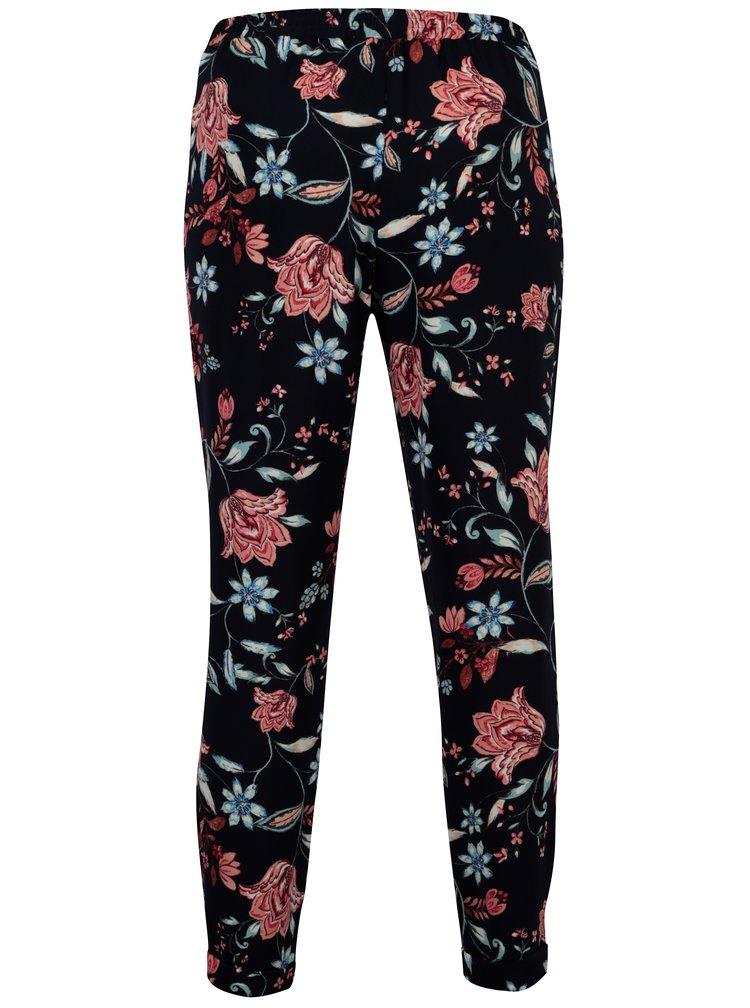 Tmavě modré květované kalhoty Dorothy Perkins