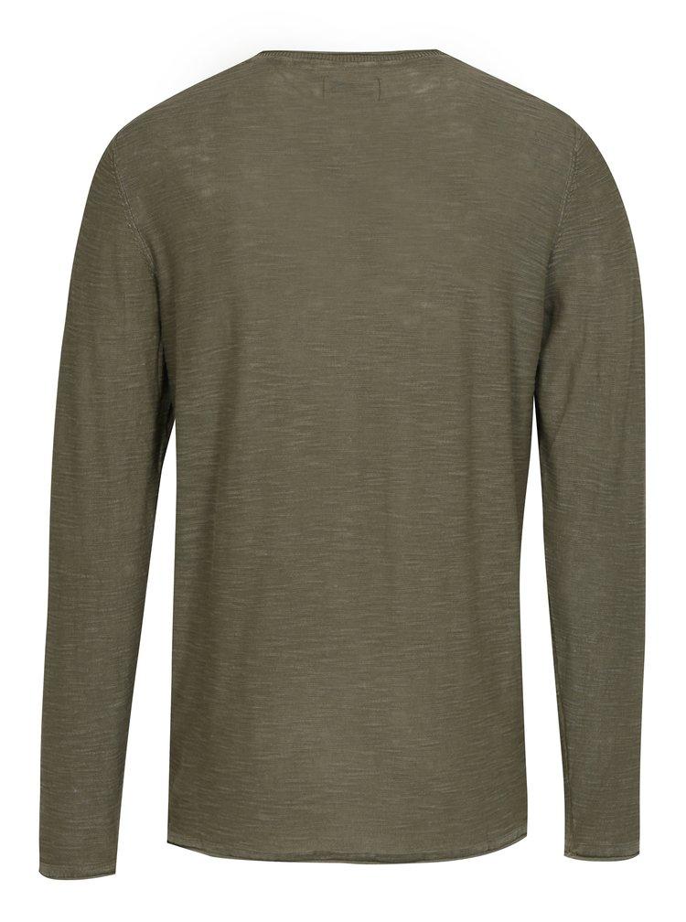 Zelené žíhané tričko s dlouhým rukávem Shine Original