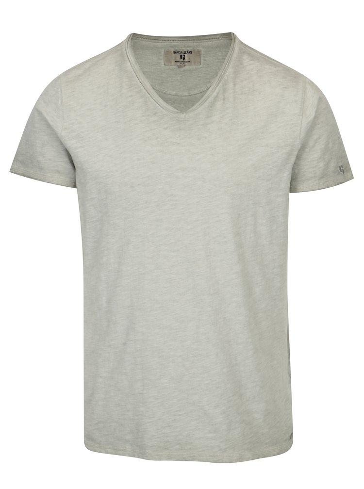 Šedé pánské tričko s véčkovým výstřihem Garcia Jeans Marco