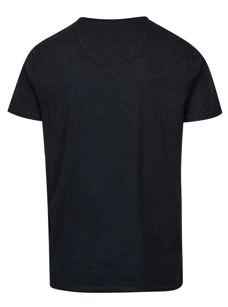 Modré pánské basic tričko s véčkovým výstřihem Garcia Jeans Marco