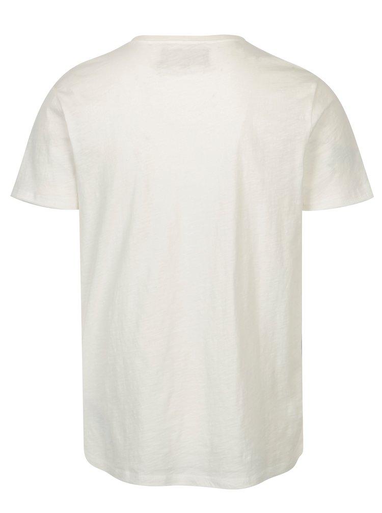 Krémové pánské basic tričko s véčkovým výstřihem Garcia Jeans Marco