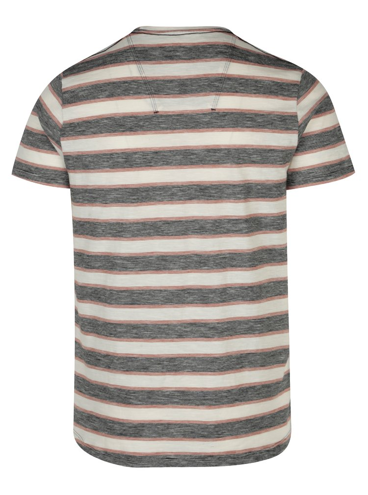 Krémovo-šedé pánské pruhované tričko Garcia Jeans Heren