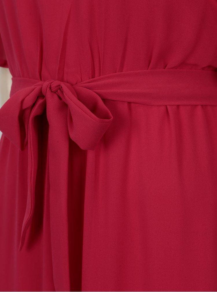 Růžové maxišaty s volány a páskem Mela London