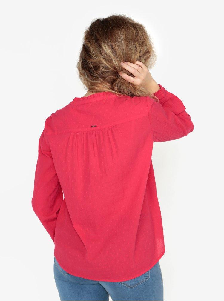 Tmavě růžová dámská vzorovaná halenka s drobnými volány s.Oliver