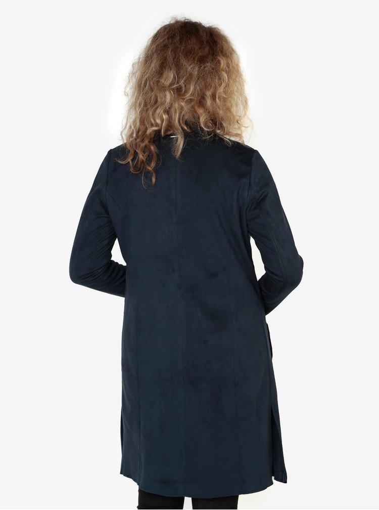 Tmavě modré dámské dlouhé sako v semišové úpravě s.Oliver