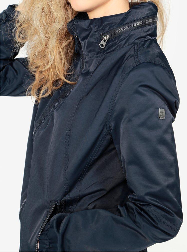 Tmavě modrá dámská bunda se skrytou kapucí QS by s.Oliver
